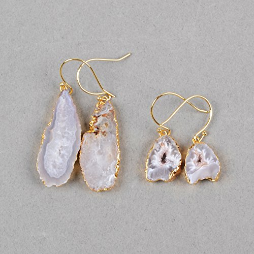 ZENGORI 1 Pair Glod Plated Freeform Irregular Natural Agate Druzy Slice Drop Dangle Earring