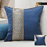 HOMEE a New Modern Chinese Chip-Pillow Sofa Pillow Back Lumbar Pillow Cushion Large Armful Pillows ,45X45Cm, Kit 3 Diagonal Blue,Hi-chim blue,40x60cm