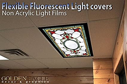 Stained glass 4 2ft x 4ft drop ceiling fluorescent decorative stained glass 4 2ft x 4ft drop ceiling fluorescent decorative ceiling light cover skylight film aloadofball Gallery