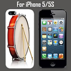Big Drum With Two Drumstick Custom Case/ Cover/Skin *NEW* Case for Apple iPhone 5/5S - White - Plastic Case (Ships from CA) Custom Protective Case , Design Case-ATT Verizon T-mobile Sprint ,Friendly Packaging - Slim Case