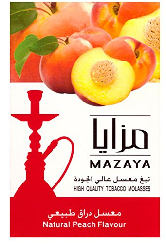 Mazaya Shisha Molasses Premium Flavors 50g For Hookah NonTobacco (Light Peach Tray)