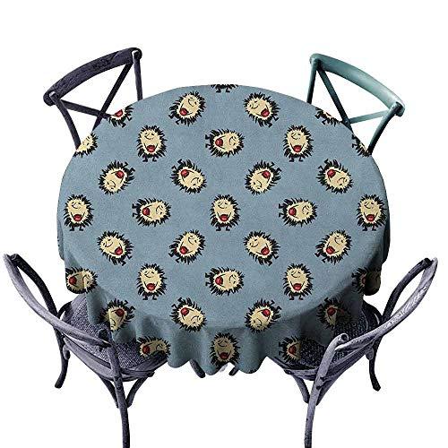 "ScottDecor Picnic Round Tablecloth Outdoor Picnics Hedgehog,Hand Drawn Style Thorny Mammal Mascots Holding Jar of Jam Playful Childhood Theme, Multicolor Diameter 54"""