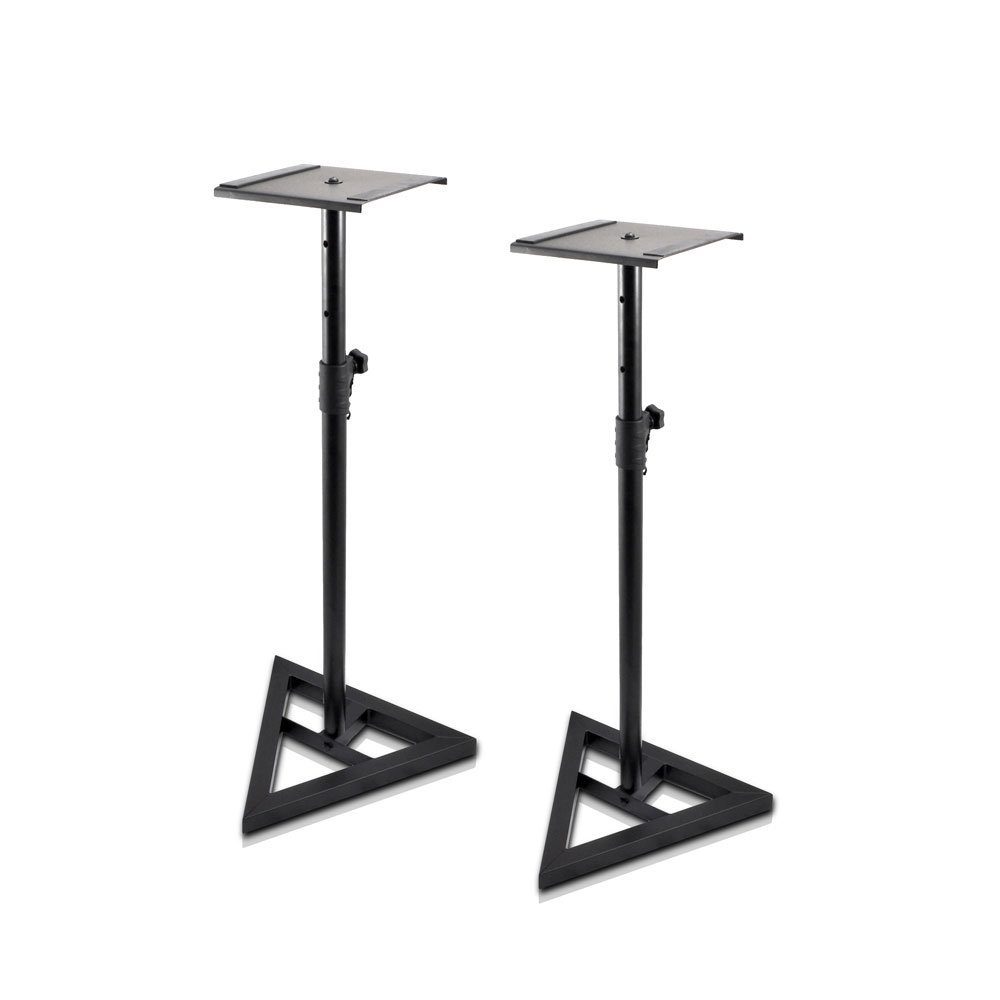 Pyle Sonos Speaker Stand Pair of Sound Play 1 and 3 Holder - Telescoping Height Adjustable from 26'' - 52'' Inch High Heavy Duty Three-point Triangle Base w/ Floor Spikes and 9'' Square Platform
