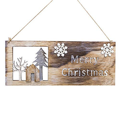 (Christmas Hanging Ornaments Wooden Pendant Decor Christmas Elk Wood Plate Hollow Door Hanging Wooden Pendant Xmas Ornaments Christmas Tree Decoration (A))