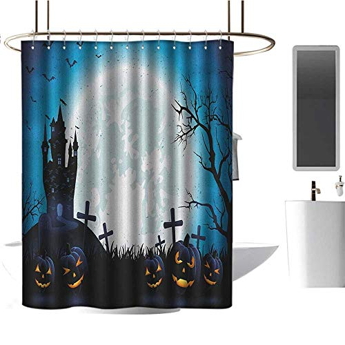 (Qenuan Polyester Shower Curtain Halloween,Spooky Concept with Scary Icons Old Celtic Harvest Figures in Dark Image Holiday Print, Blue,Hand Drawing Effect Fabric Shower Curtains)