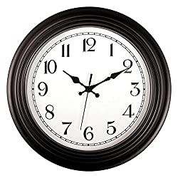 Foxtop Large Black Wall Clock, 14 inch Silent Non Ticking Decorative Wall Clock Battery Operated with Quiet Sweep Movement Round Easy to Read for Living Room Home Office School
