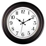 Foxtop Large Silent Non-ticking Decorative Battery Operated Wall Clock for Living Room Home Office School Library Easy to Read (14 inch, Black, Round, Arabic Numeral)