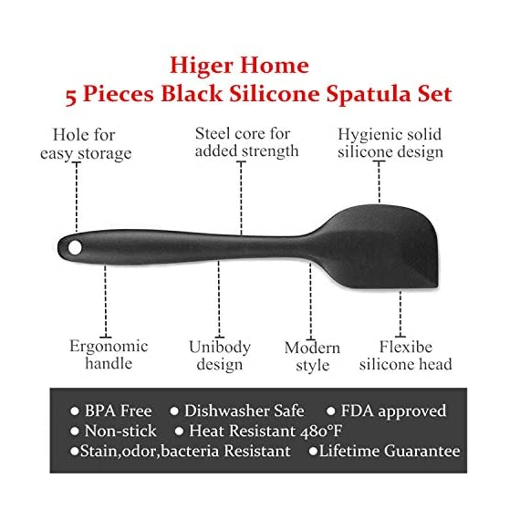 Silicone Spatula Set, Heat Resistant Scrapers, Non-stick Rubber Spatulas Spoon, Smart Kitchen Baking Tools with Stainless Steel Core, 5 Pieces Silicone Cooking Utensils Set (Black) 6 SPATULA SET INCLUDING: 1 small spatula, 1 large spatula,1 small spoon ,1 large spoon and 1 silicone brush HEAT RESISTANT & HYGIENIC - Kitchen spatulas heat 480°F resistant which gives it the ability to stir extremely hot mixtures or remove food directly. The solid silicone surface leaves no crevices for bacteria to collect. The premium kitchen spatula is firm enough for mixing both wet and dry ingredients together UNIBODY DESIGN & MUTI-USAGE - Silicone Spatulas is durable one piece construction and an internal stainless steel core ensure that your silicone spatulas don't trap food particles and continue to perform day after day.The chef's hygienic spatula can be used as cake spatula, batter scraper, jar spatula, egg spatula, fish spatula and BBQ spatula.