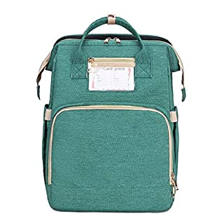 Baby Nappy Changing Bag Portable Folding Crib Diaper Backpack Stroller Straps (Color : Green, Size : 32cm)