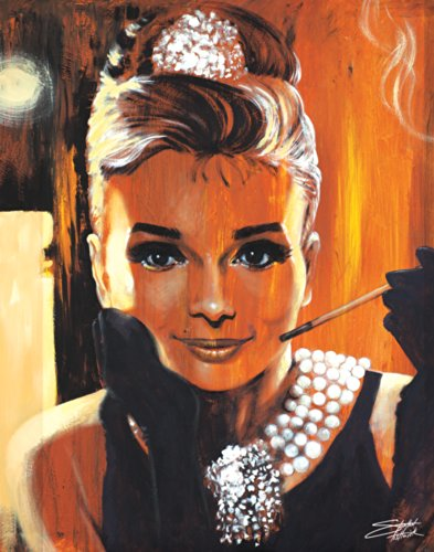 Stephen Fishwick Audrey Hepburn Breakfast at Tiffany's Classic Hollywood Movie Actress Celebrity Postcard Poster Print - Postcard Breakfast