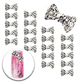 gem bows - 3D Nail Art Manicure Designs Set of 20pcs Bowties Bow Ties Shaped Decorations Studded With Clear Crystals Rhinestones Gems