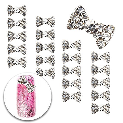 3D Nail Art Manicure Designs Set of 20pcs Bowties Bow Ties Shaped Decorations Studded With Clear Crystals Rhinestones Gems