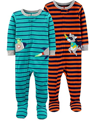 Carter's Baby Boys' 2-Pack Cotton Footed Pajamas (Blue Multi, 18 Months)