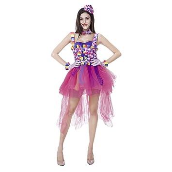 Clown Kostum Damen Witzig Buntes Clowns Kostum Amazon De Spielzeug