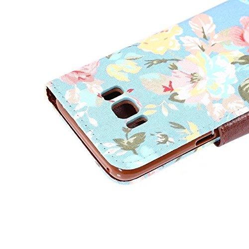 Brieftasche Hülle für Samsung Galaxy S8,Artfeel Elegantes Buntes Retro Blumen Muster Design Hülle für Frauen,Prämie PU Leder Flip Tasche mit [Kreditkartenfächer] [Magnetverschluss] Dauerhaft Stand Sto Blaue Blume