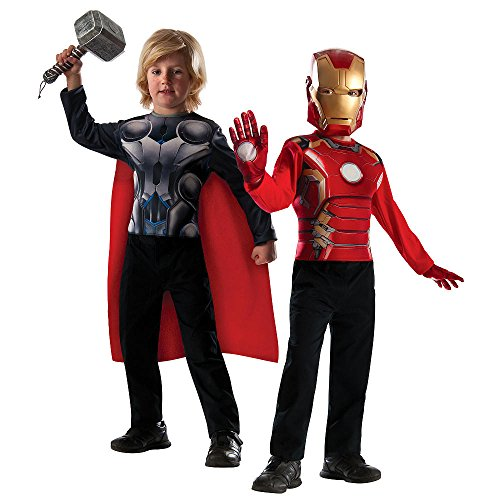 Marvel Children's Boy's Avengers Iron Man and Thor Dress Up Costume Top 2 Pack Set (Avengers 2 Boys Thor Costume)