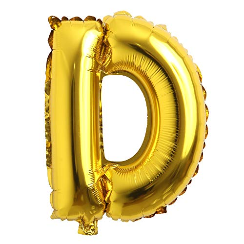 32 inch Letter Balloons Gold Alphabet Number Balloons Foil Mylar Party Wedding Bachelorette Birthday Bridal Shower Graduation Anniversary Celebration Decoration (32 inch D Gold)