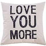 Yoyokmc Cotton Linen Square Decorative Throw Pillow Case Valentine's Day Gift Cushion Cover, Sofa cushion Car Office Pillowcase, Beige Cotton Blend Linen 18x18'' (love)