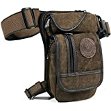 Men's Canvas Hip Belt Bum Fanny Pack Waist Thigh Leg Drop Bag Tactical Military Riding Motorcycle Outdoor Bike Cycling Multi-purpose Messenger Shoulder Bag by D&B Sport