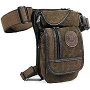 Men's Canvas Hip Belt Bum Fanny Pack Waist Thigh Leg Drop Bag Tactical Military Riding Motorcycle Outdoor Bike Cycling…