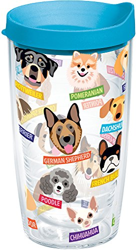 Art - Dogs Tumbler with Wrap and Turquoise Lid 16oz, Clear (Chihuahua Travel Mug)