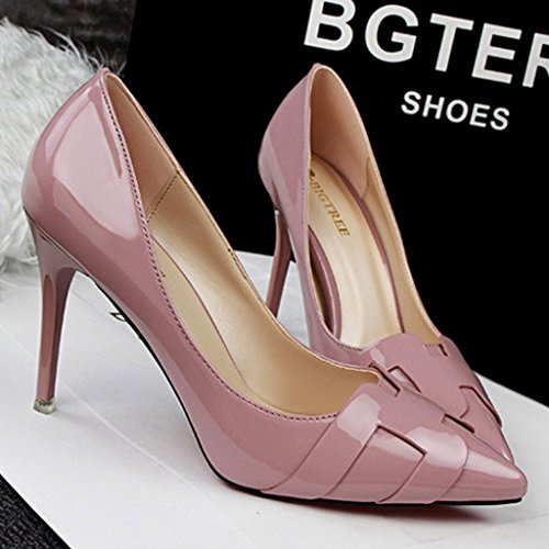 High Shoes Minetom Heel Primavera Zapatos Trabajo Charol Stiletto Mujer Atractivo de Tac Pumps 4qWqwXr0