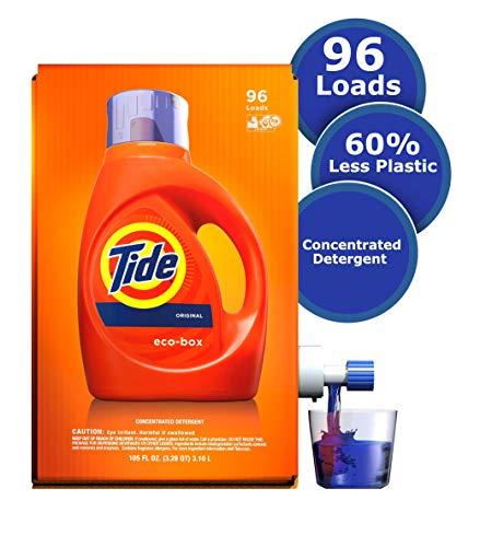 Tide Laundry Detergent Liquid Eco-Box, Concentrated, Original Scent, 105 oz, HE Compatible, 96 Loads