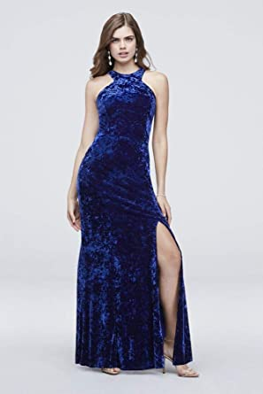 59fa3c6f809 David s Bridal High-Neck Crushed Velvet Prom Dress with Strappy Back Style  12508