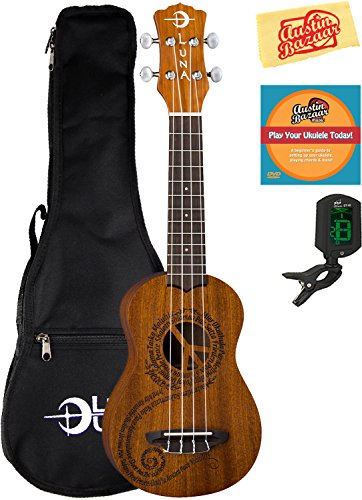 Luna Malu Maluhia (Peace) Mahogany Soprano Ukulele Bundle with Gig Bag, Tuner, Austin Bazaar Instructional DVD, and Polishing Cloth