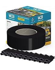 WDB Basic Line PVC zichtwerende strips voor dubbele staafmatten, pvc inkijkbescherming voor tuinhek en dubbelstaafmattenhek, 47,5 mm × 35 m + 20 stuks bevestigingsclips, klemrails