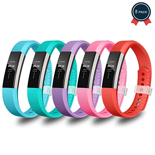 Greeninsync Compatible Fitbit Alta Bands, Replacement for Fitbit Alta Accessory Band Small for Fitbit Alta/Fitbit Alta HR/Fitbit Ace Wristbands with Metal Clasp and Ultrathin Fastener (5pack) ()