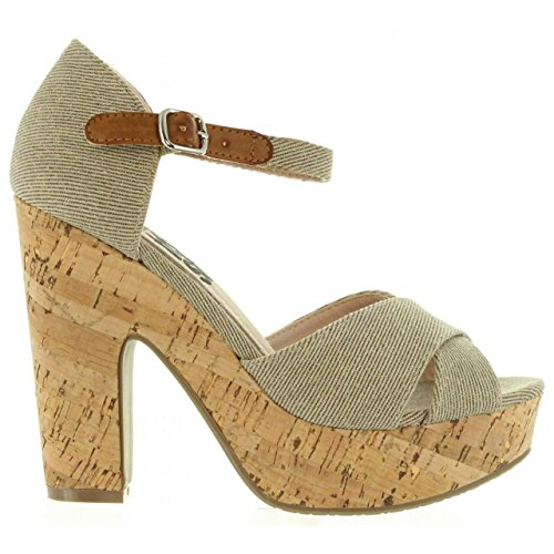 Taupe Sandales Lona Femme Pour Refresh 63254 xFwqUXX