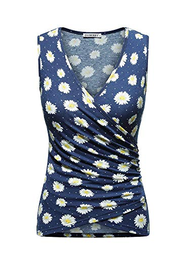 GUBERRY Womens Daisy Top Deep V Neck Cross Wrap Sleeveless Floral Fitted Shirts