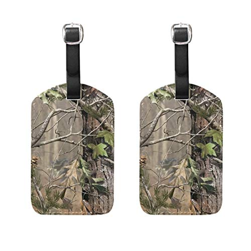 Jojogood Camouflage Realtree Background Luggage Tags Bag Travel Labels for Baggage Suitcase 2 PCS