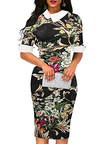 oxiuly Women's Retro Bodycon Knee-Length Formal Office Dresses Pencil Dress OX276 (XXL, Black Yellow)