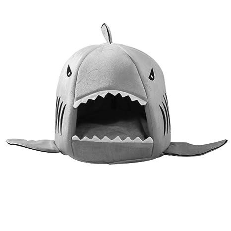 uu19ee Mascota Perro Gato Caliente Cama de Felpa Dibujos Animados Boca de tiburón Lavable Casa de