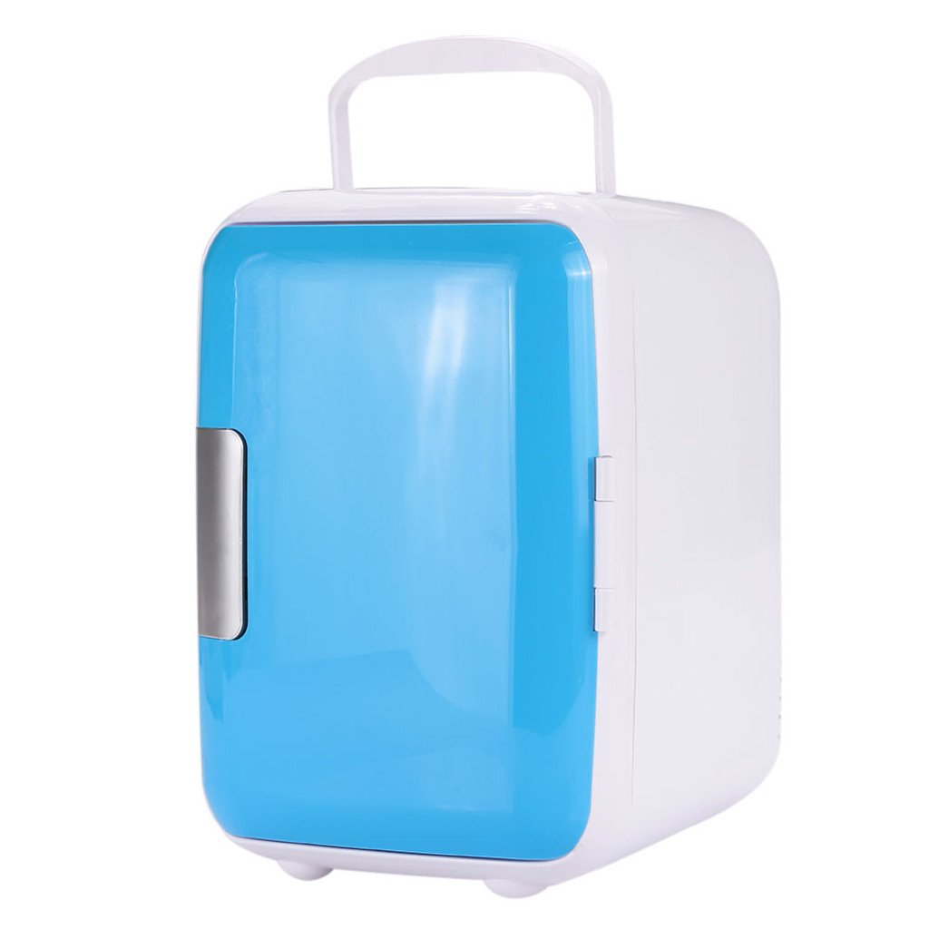 QIHANGCHEPIN 12V Portable 4L Car Refrigerator Heating Refrigerated Refrigerator - Durable and Convenient AC/DC Temperature Measuring System Blue Mini Refrigerator