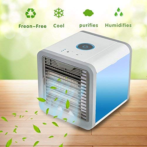 Lmani Arctic Air Space Cooler, 3 in 1 USB Portable Mini Air Conditioner, Humidifier, Purifier with 7 colors LED Night - The Quick & Easy Way to Cool Any Space (White) Cube Cooler
