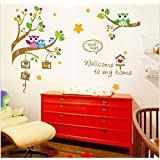 Cute Owl Wall Stickers For Kids Room Original Diy Cartoon Wall Decals For Home Decorations