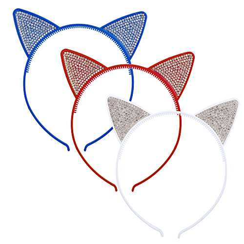 Lux Accessories Blue Red White Faux Rhinestones Kitty Cat Ears Headband Set of 3