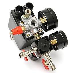 BephaMart 125PSI Air Compressor Pressure Valve Switch Control Manifold Regulator Gauges