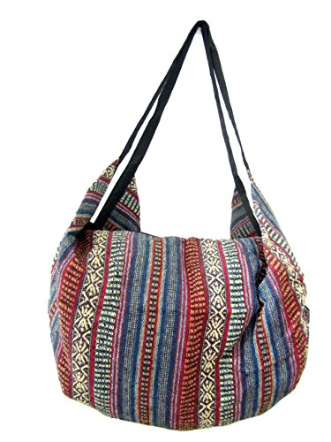 Large Aztec Yoga Convertible Crossbody Backpack Hippie Hobo Sling Bohemian Shoulder Bag (Blueberry) by Blue Orchid