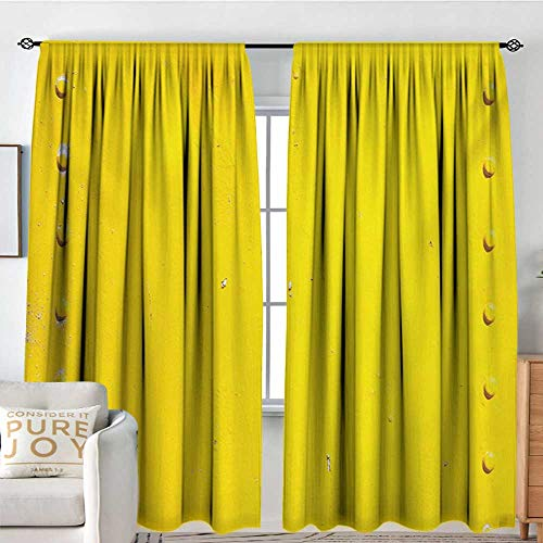 Rod Pocket Curtains Yellow,Vintage Worn Out Dirty Industrial Wall Plate and Tacks Photo with Productivity Theme,Yellow,Insulating Room Darkening Blackout Drapes for Bedroom 120