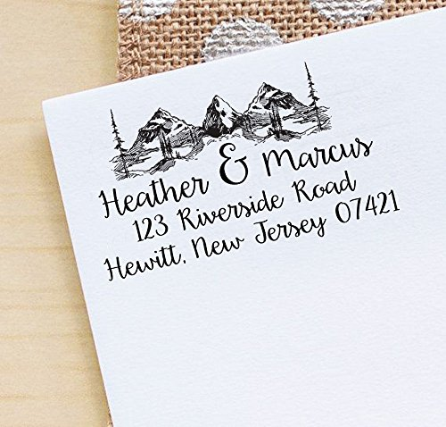 Printtoo Personalized Mountain & Pine Tree Monogram Address Invitation Self-Inking Rubber Stamp -