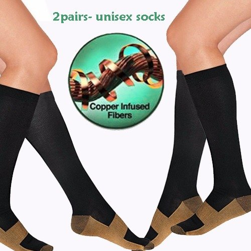 Copper Socks, Infused Copper Compression Socks 15-20 mmHg Miracle Pain Relief Anti Fatigue for (2 pairs) of Hi Quality socks unisex for travel, sports, maternity, Boost of Stamina by Rapid Relief