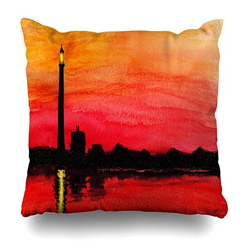 Ahawoso Decorative Throw Pillow Cover Watercolor Drawing Fire Island Lighthouse Clip Nautical York Painting Realism Design Home Decor Pillowcase Square Size 20