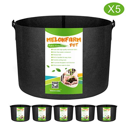 MELONFARM 5-Pack 15 Gallon Plant Grow Bags – Smart Thickened Non-Woven Aeration Fabric Pots Container with Strap Handles for Garden and Planting