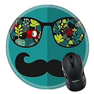 MSD Natural Rubber Mousepad Round Mouse Pad/Mat: 27886526 Retro sunglasses with reflection for hipster Vector illustration of accessory glasses isolated Best print for eyeglasses advertisement