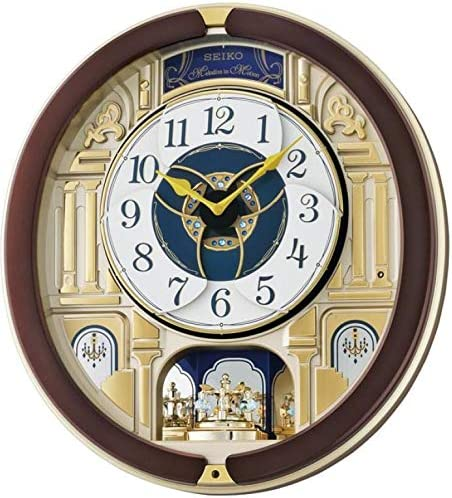 Seiko QXM356B Melody in Motion Wall Clock with Rotating Pendulum