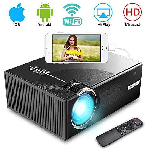 Video Projector, iBosi Cheng LED Home Mini Projector HD 1080P Projector, Wireless Smart WiFi Projector, 2800 lux, Multimedia Projector with HDMI USB VGA Port, Support for Apple Laptop Smartphone